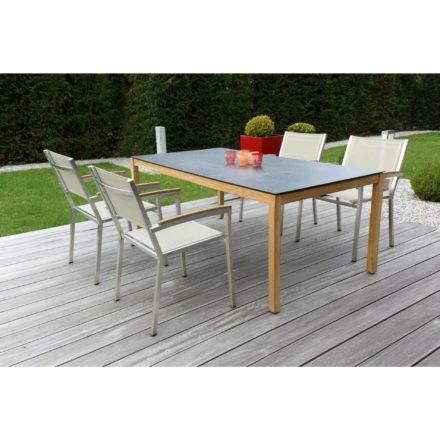 """Zebra """"Corpus"""" Tischgestell aus Teakholz und Tischplatte SELA HPL bronze und Gartenstuhl """"Pontiac"""" espresso"""