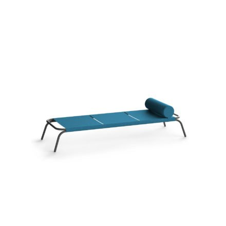 "Conmoto Sonnenliege ""Genua"", Gestell Aluminium schwarz, Textilbezug blau"