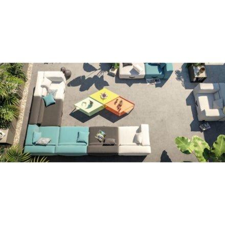 "Conmoto ""Miami"" Loungegruppe, Sunbrella hellgrau, anthrazit und blau"