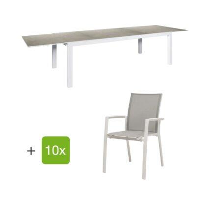"""Jati&Kebon Gartenmöbel-Set mit Ausziehtisch """"Livorno"""", Alu weiß, Tischplatte Keramik Zement hell und zehn Stühlen """"Sevilla"""", Alu weiß, Textilen hellgrau"""