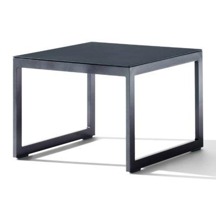 Sieger Loungetisch, Gestell Aluminium eisengrau, Tischplatte Glas eisengrau lackiert