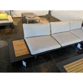 "Jati&Kebon 2-Sitzer Basismodul inkl. Tisch ""Arbon"", Gestell Aluminium mit Teakholz"
