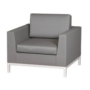 "Siena Garden Loungesessel ""Calino"", Gestell Aluminium weiß, Ranotex-Gewebe jeans-grau"