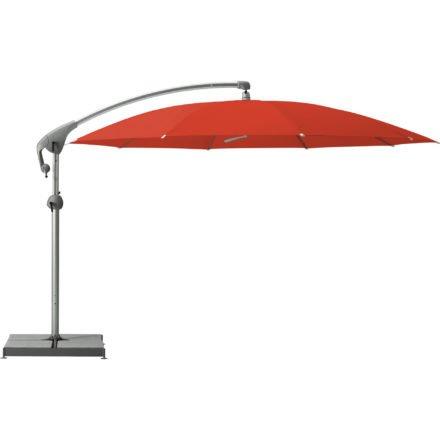 """Sonnenschirm """"Pendalex®P+"""", rund, ohne Volant, Gestell natureloxiert, von GLATZ, Dessin 516 - Fire Red (© by GLATZ AG, Schweiz)"""