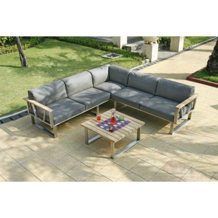 """Zebra """"Belvedere"""" Lounge-Set, Edelstahl/Teak mit Sitzkissen aus Tuva® Textil, 3er Sofa, 2er Seitenteil rechts, Loungetisch"""