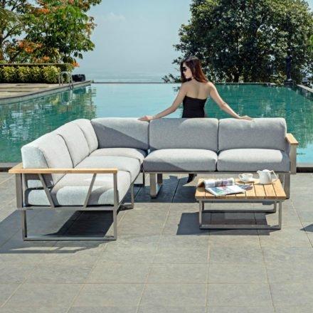 """Zebra """"Belvedere"""" Lounge-Set, Edelstahl/Teak mit Sitzkissen aus Olefin, 3er Sofa, 2er Seitenteil rechts, Loungetisch"""