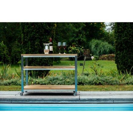 """Diamond Garden, Beistelltisch """"Piazza"""", Edelstahl, recyceltes Teakholz, mit Rollen"""
