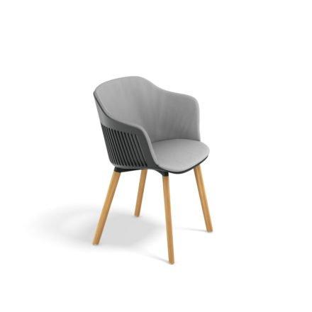 "DEDON Armlehnstuhl ""AIIR"", Gestell Premium Teakholz, Sitzschale Polypropylen, Farbe nori, mit Sitz- und Rückenkissen"