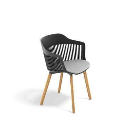 """DEDON Armlehnstuhl """"AIIR"""", Gestell Premium Teakholz, Sitzschale Polypropylen, Farbe nori, mit Sitzkissen"""