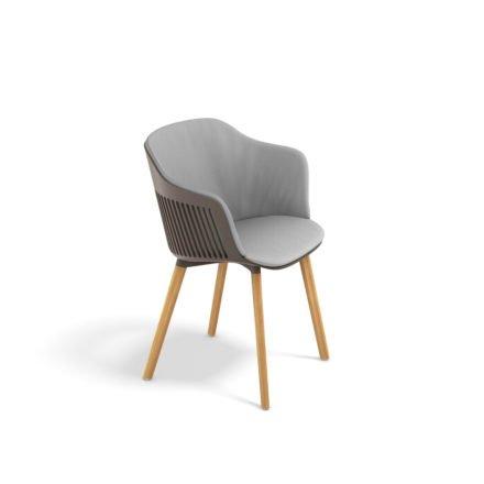 "DEDON Armlehnstuhl ""AIIR"", Gestell Premium Teakholz, Sitzschale Polypropylen, Farbe pepper, mit Sitz- und Rückenkissen"