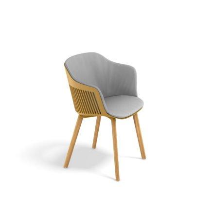 "DEDON Armlehnstuhl ""AIIR"", Gestell Premium Teakholz, Sitzschale Polypropylen, Farbe saffron, mit Sitz- und Rückenkissen"