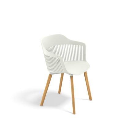 """DEDON Armlehnstuhl """"AIIR"""", Gestell Premium Teakholz, Sitzschale Polypropylen, Farbe salt, mit Sitzkissen"""