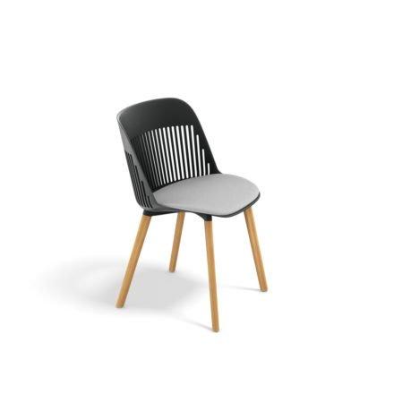 "DEDON Essstuhl ""AIIR"", Gestell Premium Teakholz, Sitzschale Polypropylen, Farbe nori, mit Sitzkissen"