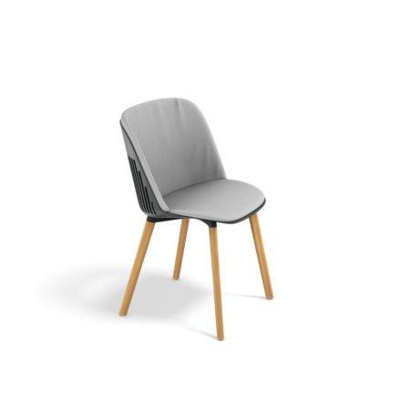 """DEDON Essstuhl """"AIIR"""", Gestell Premium Teakholz, Sitzschale Polypropylen, Farbe nori, mit Sitz- und Rückenkissen"""