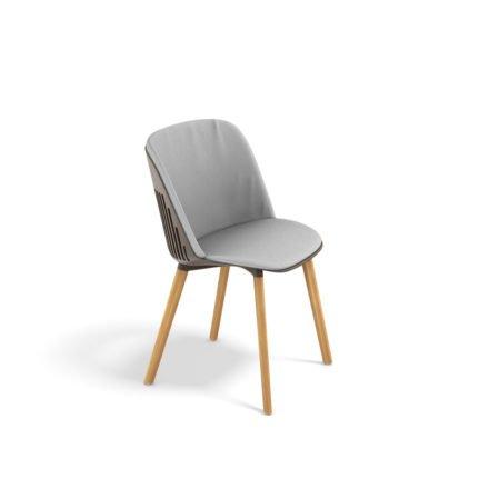 """DEDON Essstuhl """"AIIR"""", Gestell Premium Teakholz, Sitzschale Polypropylen, Farbe pepper, mit Sitz- und Rückenkissen"""