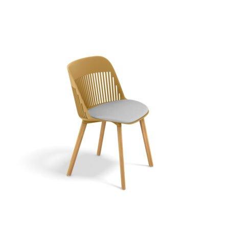 "DEDON Essstuhl ""AIIR"", Gestell Premium Teakholz, Sitzschale Polypropylen, Farbe saffron, mit Sitzkissen"