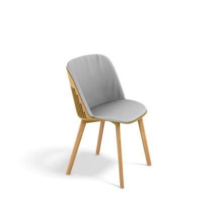 """DEDON Essstuhl """"AIIR"""", Gestell Premium Teakholz, Sitzschale Polypropylen, Farbe saffron, mit Sitz- und Rückenkissen"""