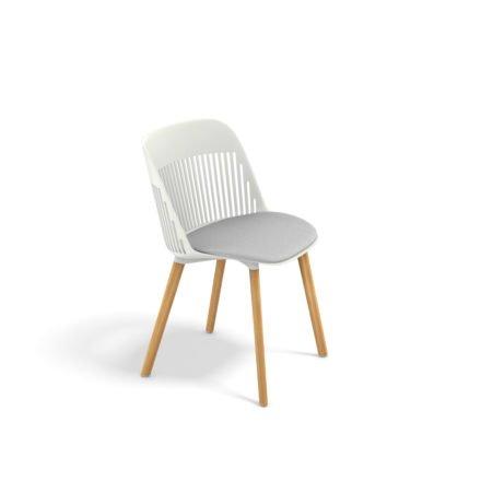 "DEDON Essstuhl ""AIIR"", Gestell Premium Teakholz, Sitzschale Polypropylen, Farbe salt, mit Sitzkissen"