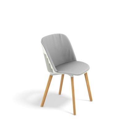 """DEDON Essstuhl """"AIIR"""", Gestell Premium Teakholz, Sitzschale Polypropylen, Farbe salt, mit Sitz- und Rückenkissen"""