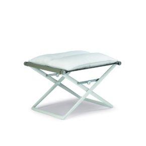 """DEDON Hocker mit Sitzkissen """"SeaX"""", Gestell Aluminium weiß, Bezug: Textilbespannung sail taupe"""