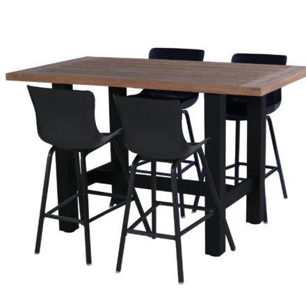 """Hartman """"Sophie"""" Dining-Barhocker, Gestell und Sitzschale carbon black, hier mit """"Sophie Yasmani"""" Bartisch 180x100 cm, Alugestell carbon black, Tischplatte Vintage Teak"""