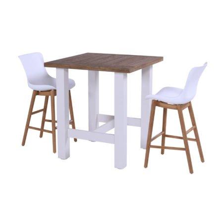 """Hartman """"Sophie"""" Dining-Barhocker, Vintage Teak-Gestell, Sitzschale Kunststoff white, hier mit """"Sophie Yasmani"""" Bartisch 100x100 cm, Alugestell white, Tischplatte Vintage Teak"""