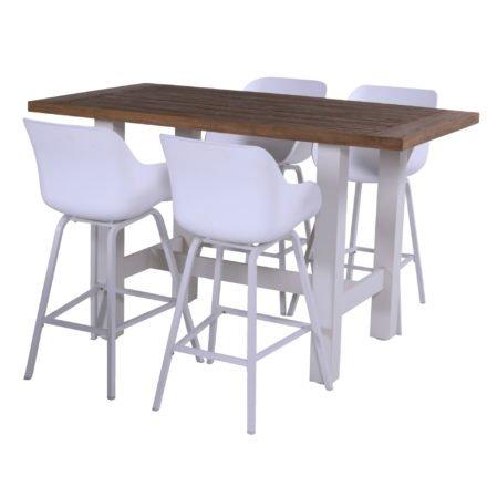 """Hartman """"Sophie"""" Oganic Barhocker, Aluminiumgestell und Kunststoff-Sitzschale white, hier mit """"Sophie Yasmani"""" Bartisch 180x100 cm, Alugestell white, Tischplatte Vinatge Teak"""