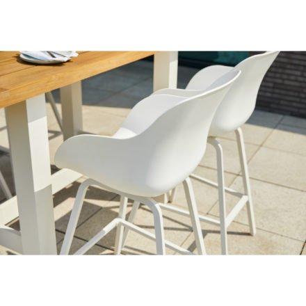 """Hartman """"Sophie"""" Organic Barhocker, Alugestell und Kunststoff-Sitzschale white, hier mit """"Sophie Yasmani"""" Bartisch 180x100 cm, Alugestell white, Tischplatte Vintage Teak"""