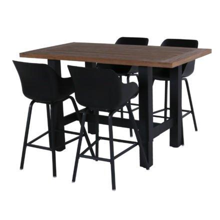 """Hartman """"Sophie"""" Organic Barhocker, Gestell und Sitzschale carbon black, hier mit """"Sophie Yasmani"""" Bartisch 180x100 cm, Alugestell carbon black, Tischplatte Vintage Teak"""