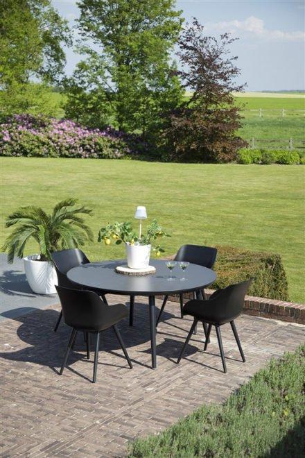 """Hartman """"Sophie Studio"""" Organic Chair, Gestell Aluminium carbon black, Sitzschale carbon black mit """"Sophie Studio"""" Gartentisch, Gestell Aluminium carbon black, HPL-Platte"""