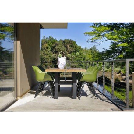 "Hartman ""Sophie Studio"" Organic Chair, Gestell Aluminium carbon black, Sitzschale moss green mit ""Sophie Yasmani"" Gartentisch, Gestell carbon black, Teakplatte"