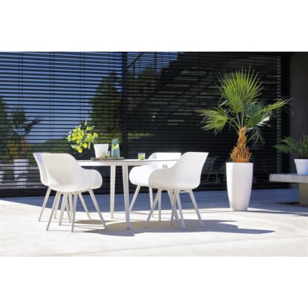 "Hartman ""Sophie Studio"" Organic Chair, Gestell Aluminium royal white, Sitzschale royal white mit ""Sophie Studio"" Gartentisch, Gestell white, HPL-Platte"