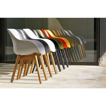 "Hartman ""Sophie Studio"" Organic Chair, Gestell Aluminium und Teakholz, Sitzschale Kunststoff"