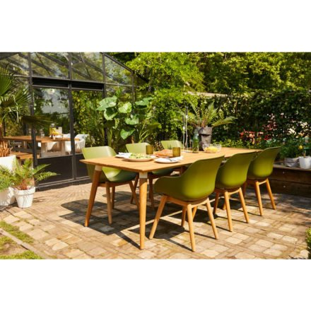 "Hartman ""Sophie Studio"" Organic Chair, Gestell Teakholz, Sitzschale Kunststoff moss green und ""Sophie Studio"" Gartentisch Teakholz"