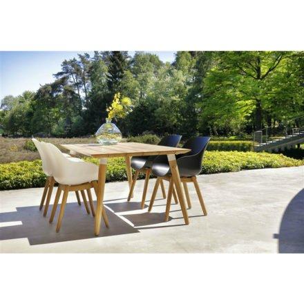 """Hartman """"Sophie Studio"""" Organic Chair, Gestell Teakholz, Sitzschale Kunststoff und """"Sophie Studio"""" Gartentisch Teakholz"""