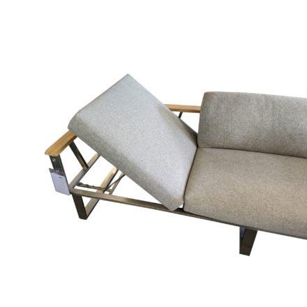 """Zebra """"Belvedere"""" 3-Sitzer Loungesofa aus Edelstahl mit Teakholzarmlehnen, verstellbare Sitzfläche links"""