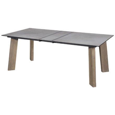 Zebra Gartentisch, Gestell Teakholz, Tischplatte HPL scratched grey mit Aluminium