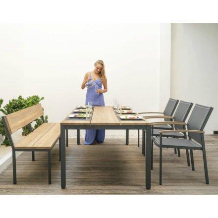 "Zebra ""Alex"" Gartenmöbel-Set, kombiniert Aluminium mit Teakholz recycelt und Textilgewebe"