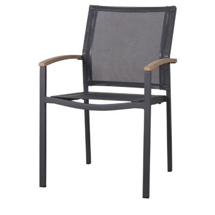 Zebra Stapelsessel Alex, Gestell Aluminium graphit, Sitzfläche Textilgewebe, Armlehnen Teakholz