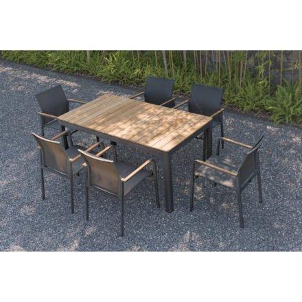 """Zebra Gartentisch """"Bee"""" und Stapelsessel """"Bee"""", Gestell Aluminium graphite, Teakarmlehnen, Sitzfläche Textilgewebe carbon grey"""