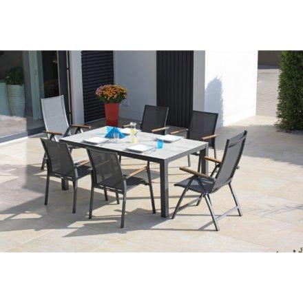 """Zebra """"Fly"""" Stapel- und Klappsessel, Gestell Aluminium graphite und Gartentisch Alus mit Tischplatte SELA HPL"""