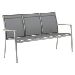 """Zebra Gartenbank """"One"""", Gestell Edelstahl, Teakarmlehnen, Sitzfläche Textilgewebe dark grey"""