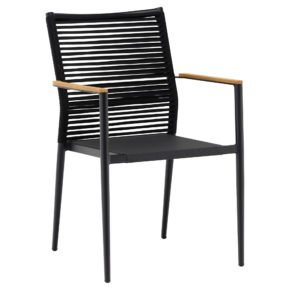 "Zebra ""Spider"" Stapelsessel, Gestell ALuminium graphite, Rückenfläche Rope, Sitzfläche Textilen, Teak-Armlehnen"