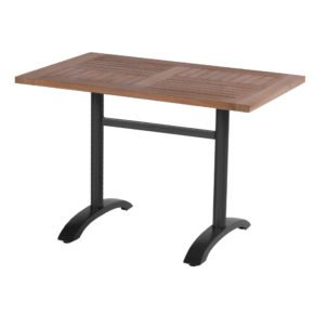 Hartman Bistro Table, Gestell Aluminium carbon black, Tischplatte Teakholz rechteckig