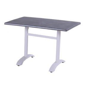 Hartman Bistro Table, Gestell Aluminium royal white, Tischplatte Teakholz rechteckig