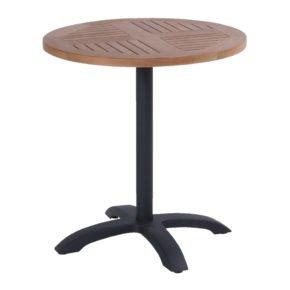 Hartman Bistro Table, Gestell Aluminium carbon black, Tischplatte Teakholz rund