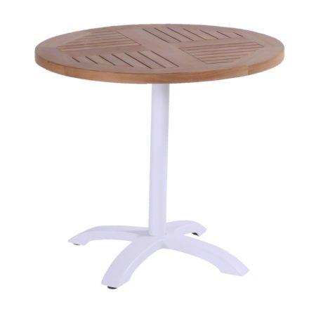 Hartman Bistro Table, Gestell Aluminium royal white, Tischplatte Teakholz rund