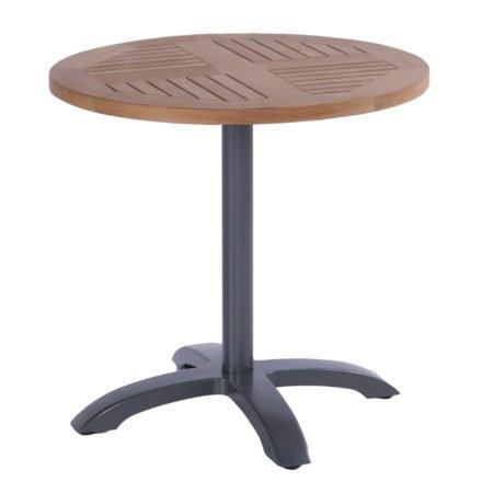 Hartman Bistro Table, Gestell Aluminium xerix, Tischplatte Teakholz rund