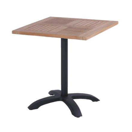 Hartman Bistro Table, Gestell Aluminium carbon black, Tischplatte Teakholz quadratisch