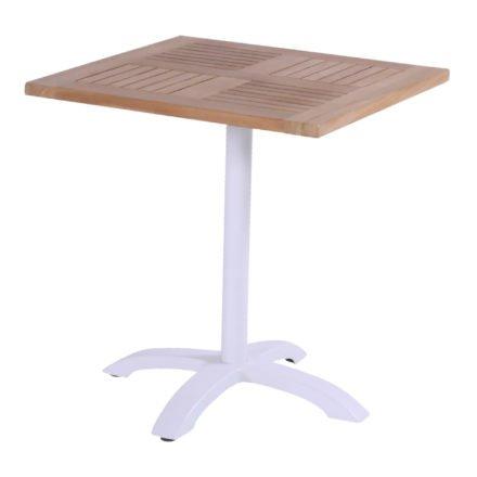 Hartman Bistro Table, Gestell Aluminium royal white, Tischplatte Teakholz quadratisch